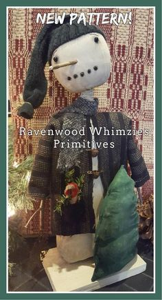 Your place to buy and sell all things handmade Primitive Christmas Crafts, Primitive Snowmen, Christmas Sewing, Holiday Crafts, Snow Much Fun, Primitive Patterns, Cute Snowman, Winter Fun, Craft Patterns