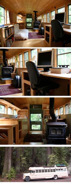"Comment transformer un autobus en mini maison ? Le concept de la tiny house poussé dans sa version ""mobile""."