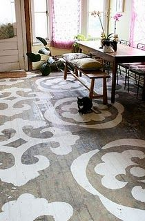 Stenciled floor - awesome idea!