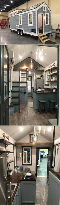 This 24' tiny house is a beautiful blend of white walls, blue cabinets, and dark stained wood. Wood trim and accents give the house a warm, luxurious feel.