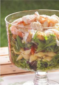 Layered Caesar, Shrimp & Pasta Salad -- Caesar dressing combined with mayo and fresh garlic is the secret to the big crowd-pleasing flavor in this healthy living pasta salad recipe.  Serve this at your upcoming wedding shower, engagement party or rehearsal dinner!