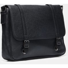 Cross-Body Strap Messenger Bag ($87) ❤ liked on Polyvore featuring men's fashion, men's bags, men's messenger bags and black