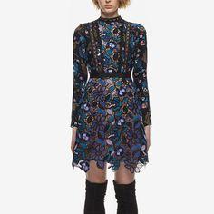Self Portrait Dress Woman Long Sleeve Floral Lace Vintage Dresses