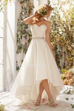2014 Sweetheart Ruched Bodice A Line Wedding Dress With High Low Chiffon Skirt Beaded Waistline pic1