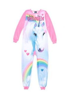 Jellifish Kids Footed Pajama Girls 4-16 - Pink Unicorn - L Girls Pajamas 78c9e0d86
