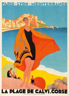La Plage de Calvi. Corse. 1928. Roger Broders.