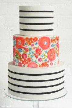 three tiered striped cake