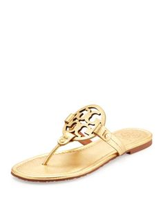 Tory Burch Miller Metallic Logo Thong Sandal, Gold by Tory Burch at Neiman Marcus.