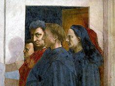 Masaccio Autoritratto in compagnia di Masolino da Panicale, Leon Battista Alberti e Filippo Brunelleschi (particolare) 1426 Firenze, Chiesa del Carmine, Cappella Brancacci