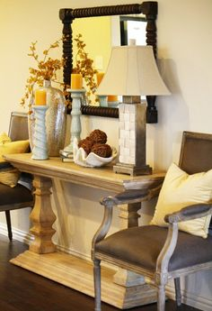 foyer vignette made from mantle shelves and stair posts