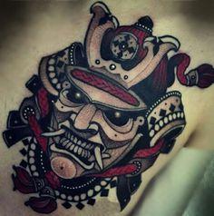 #Japanesesamurai #tattoo, #blackandred #folowme on insta #franc.parra