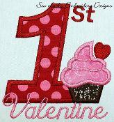 1st valentine cupcake applique design/machine embroidery