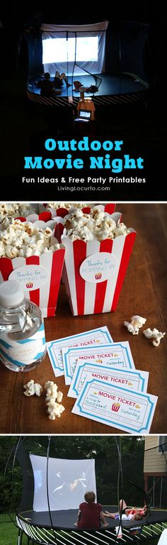Outdoor Movie Night Ideas with Springfree Trampoline. Get free party printables and learn about the safest trampoline. LivingLocurto.com