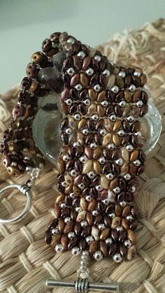 Brown SuperDuo Beaded Bracelet.