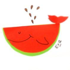 water meloen/walvis van papier  Getekend door Eva Winkels.