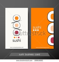 Sushi business cards design template with text on vertical background. Vector version. - stock vector