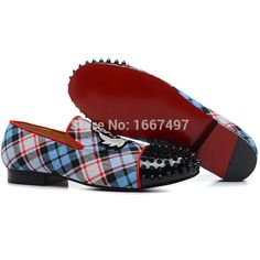 Vente chaude chaussures fond rouge Spikes Tartan hommes mocassins chaussures plates Sneakers Cavans rouge(China (Mainland))