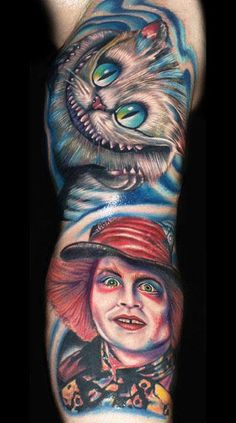 "Tim Burton's ""Alice in Wonderland"" Mad Hatter and Chesire Cat tattoo Trendy Tattoos, Love Tattoos, Beautiful Tattoos, Body Art Tattoos, New Tattoos, Tattoo Chat, Tattoo Bein, Cheshire Cat Tattoo, Chesire Cat"