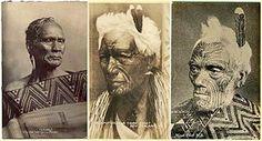 16-membros de tribo Maori com tatuagens típicas