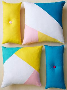Instead of searching high and low for the perfect pillow, make one that you know your friend will love! Sketch a geometric design on a square piece of kraft paper to make a template, then trace onto fabric and cut to size. Stich the shapes together and press the seams open. Cut solid-color fabric to make the back of the pillow covering. Stich the front and back pieces, right sides together, leaving a small opening. Turn right side out, press, and stuff with a pillow form. Whipstich the…