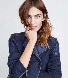 Cool Rider Alexa Chung loves her navy suede biker jacket from Tommy Hilfiger.