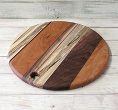 Round Cutting Board, Walnut, Cherry, and Ambrosia Maple, Rustic Look