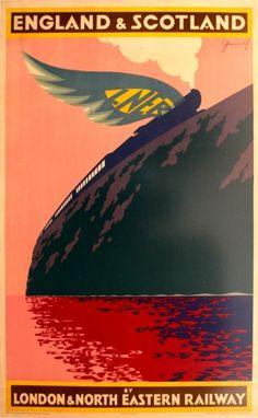 England Scotland LNER Freiwirth, 1930s - original vintage poster by Ladislas Freiwirth listed on AntikBar.co.uk