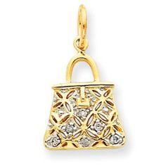 Save $405.21 on 14k Gold Diamond Purse Charm; only $167.84
