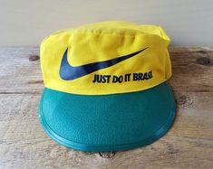 Vintage NIKE Just Do It BRAZIL Painter Hat Yellow Green Pillbox Style Sports  Cap Volleyball Soccer Elasticized Back 40b1ec3b7353