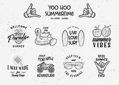 YOO HOO SUMMERTIME vintage logo bundle vector summer hipster design inspiration hand drawn #illustration #vector #logo #vintage #logodesign #summer #hipster #inspiration  #hand drawn