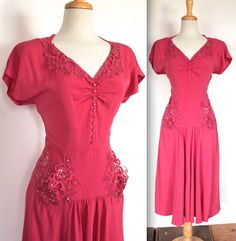 Vintage 1940's Dress // 30s 40s Hot Pink Bombshell Rayon Dress with Rhinestone Studded Appliqués //  DIVINE by TrueValueVintage on Etsy https://www.etsy.com/listing/214718348/vintage-1940s-dress-30s-40s-hot-pink