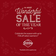 Scentsy 2015 December 3 Day Sale. Going on December 2, 3, and 4. Come back each day at 8AM PST to see what has been added to my website.