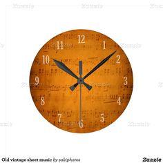 Old vintage sheet music clock