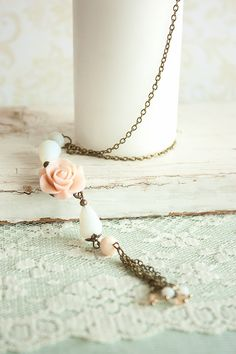Items similar to Glass Bead Pendant Necklace Soft Peach Matte Resin Rose Elegant White Teardrop Bead Necklace Dusty Rose Bronze Romantic Pendant with Tassel on Etsy Beaded Jewelry, Handmade Jewelry, Beaded Necklace, Pendant Necklace, Mom Day, White Necklace, Dusty Rose, Sterling Silver Chains, Tassel