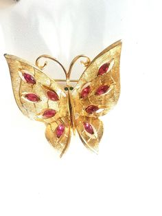 JJ Jonette Jewelry Butterfly Brooch Pink by JanesVintageJewels