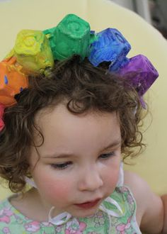 Having Fun at Home: Rainbow Hats from Egg Cartons
