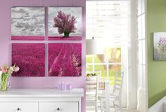 Der Mehrteiler für besondere Stimmung: http://www.cewe-fotobuch.at/produkte/wanddekoration/ #diy #wanddeko #blumenfeld #pink
