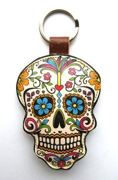 Leather keychain / bag charm - Sugar Skull