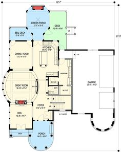 30 Ideas house plans with basement master suite bonus rooms Dream House Plans, House Floor Plans, My Dream Home, Dream Homes, Architectural Design House Plans, Architecture Design, The Sims, Screened In Deck, Unique Floor Plans