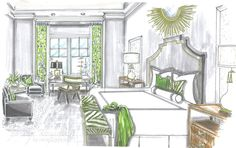 Master Bedroom design by Roxanne Lumme Interiors. Rendering by Jane Gianarelli.