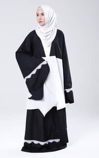 Mukena Mukaga Tia-Black-White