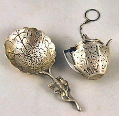 sterling silver tea balls | 70: Webster sterling silver engraved kettle shaped tea