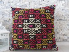 geometric kilim pillow 16 x 16 sofa pillow decorative pillow bohemian pillow tribal pillow home decor boho pillow turkey pillow