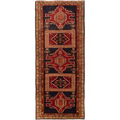 ecarpetgallery Hand Knotted Persian Ardabil Blue/ Red Wool Rug (4'5 x 10'4) | Overstock.com Shopping - The Best Deals on One Of A Kind Rugs