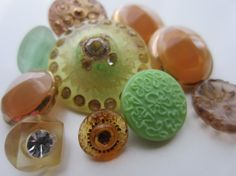 Vintage Buttons beautiful tiny to 7/8 inch  amber by pillowtalkswf, $12.95