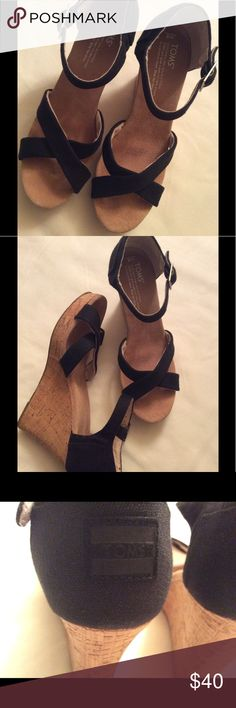 Toms Wedge Heels Toms Wedge Sandal Heels in black.. Size 8 (Pre-Loved) Toms Shoes Heels
