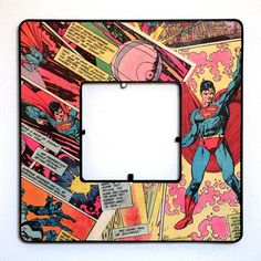 Vintage Superman Comic Decoupage Picture Frame - table decorations made by the boys