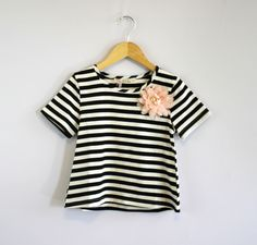 Toddler Girls Short Sleeve Striped Shirt with removable Peachy Pink Flower - Kids Cloth Box
