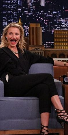 Who made Cameron Diaz's black jumpsuit, jewelry, and sandals? Jumpsuit and shoes – Isabel Marant  Necklace – Eddie Bongo