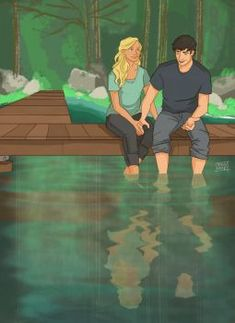 Percy and Annabeth on the Riverbank by emmilinne